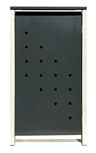BBT@ | Hochwertige Mülltonnenbox für 1 Tonne mit 120 Liter mit Klappdeckel in Silber / Aus stabilem pulver-beschichtetem Metall / Stanzung 4 / In verschiedenen Farben sowie mit unterschiedlichen Blech-Stanzungen erhältlich / Mülltonnenverkleidung Müllboxen Müllcontainer - 6
