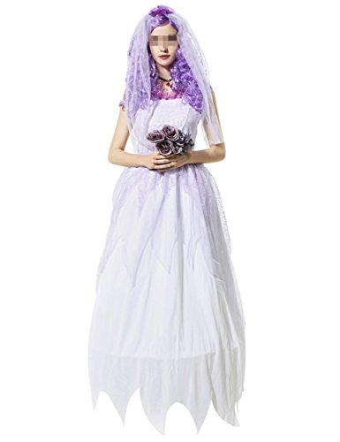 THEE Damen Mädchen Geist Braut Vampir Zombie Kostüm Halloween Cosplay Karneval Fasching Fastzeit