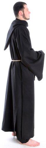 Mönchskutte Mittelalter Kleidung Kutte Mönchsrobe schwarz M mit Schnur Schwarz