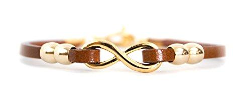 Schmuck Armband Yggdrasil Lebensbaum aus Stahl in gold oder silber, Band in Lederoptik, 21,5 cm, Damen Symbolschmuck Weltenbaum, Farbe:Gold