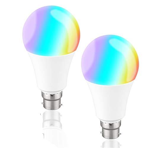 SMARTRICH Cambia Colore Lampadina, Smartphone WiFi Voice Control RGB luci Wake-up dimming LED Lampadina a Risparmio energetico E2710W Compatibile Alexa Google-Confezione da 2