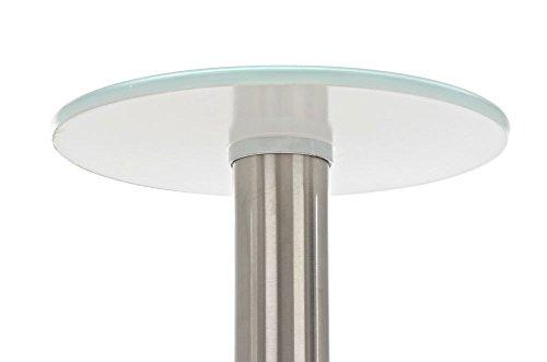 CLP Glastisch MARIDA, Beistelltisch mit Edelstahlgestell, Kaffeetisch mit Einer 1 cm starken Sicherheitsglasplatte Weiß