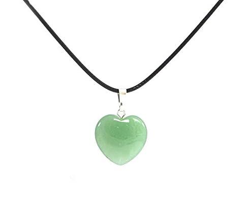 Green Jadeite Chalcedony (Jade) Semi-precious Gemstone Heart Pendant Necklace Necklace 18''