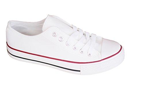 Scarpe Canvas di Tela Unisex Donna Uomo Stile Casual E Sportivo, Colore Bianco Bianco Size: 43 EU