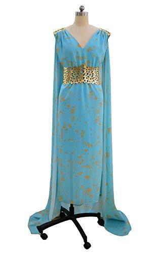 I TRUE ME Damen-Daenerys Targaryen Kostüm Halloween Cosplay Blue Long Train Dress Up,S
