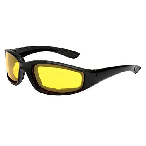 Anti-Glare Motorrad Radsportbrille selbsttönend,TriLance Polarisierte Nachtfahrbrille Herren und Damen im Freien Reitbrille Skibrille CS Taktische Sonnenbrille Sport Schwamm Sonnenbrille (Yellow)