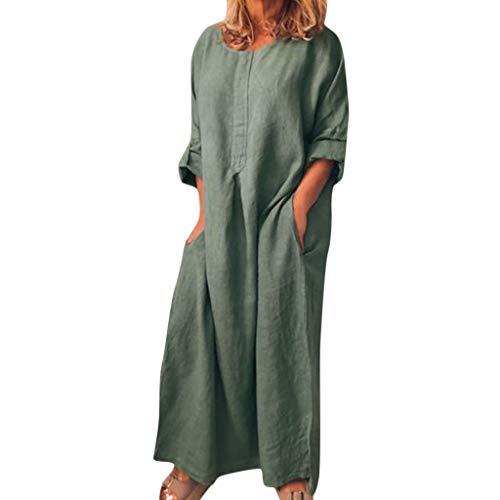 Amcool Damen Maxikleid Sommerkleid Kleider Boho Party Kleid Langarm Lose Leinenkleid Strandkleid Lang Blusenkleid große größen Mit Tasche Empire Womens Sweatshirt