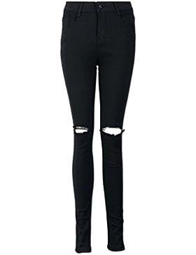 Reasoncool Women Slim matita pantaloni freddi Ripped ginocchio taglio skinny jeans lunghi pantaloni