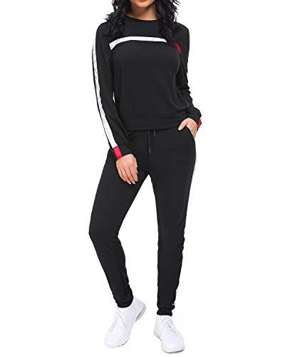 Unifizz Frauen 2 Stück Outfits Streifen Pullover Hoodies Flare Long Pants Trainingsanzug Jumpsuit Set, 512_schwarz, M