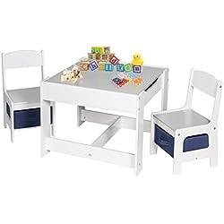 EUGAD 0001ETZY Ensemble de meuble d'enfant 1 table et 2 chaises avec tiroir de rangement sous l'assise Gris + Blanc