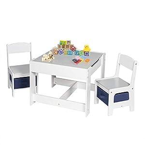 EUGAD 0001ETZY Kindersitzgruppe, 1 Kindertisch und 2 Stühle Sitzgruppe für Kinder, aus Holz, Kindermöbel mit Stauraum…