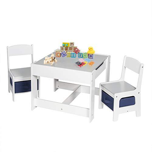 EUGAD 0001ETZY Kindersitzgruppe, 1 Kindertisch und 2 Stühle Sitzgruppe für Kinder, aus Holz, Kindermöbel mit Stauraum, Tafel, grau + weiß