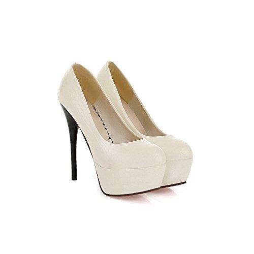 Femme Escarpins Sexy Talon Aiguille Hauteur 13.5CM Plateforme 4.5CM Chaussures Stiletto Mariage Club Blanc