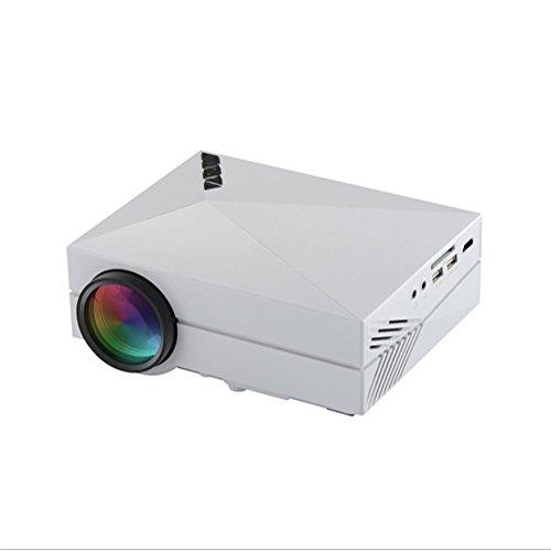 HUWIA LED-Portable-Projektor, 1200 Lumen Mini-Heimkino-Support PC/Laptop / TV-Box und mehr, mit HDMI/TV / VGA/AV / USB/SD Schnittstelle 800 * 480 Auflösung-Weiß