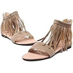 Beauqueen Sandalen Frauen Frühling und Sommer flache Plain Tassel weiblich schwarz Beige Freizeit Urlaub Schuhe spezielle Größe Europa Größe 30-46 , black , 47