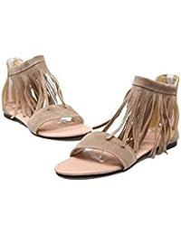 Beauqueen Sandalias Mujeres Primavera Y Verano Plano Plana Borla Mujer Negro Beige Ocio Vacaciones Zapatos Especial Tamaño Europa Tamaño 30-46 , beige , 37
