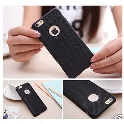 iSAVE Soft Silicone Grid Design Back Case Cover For iPhone 4/4s (BLACK)
