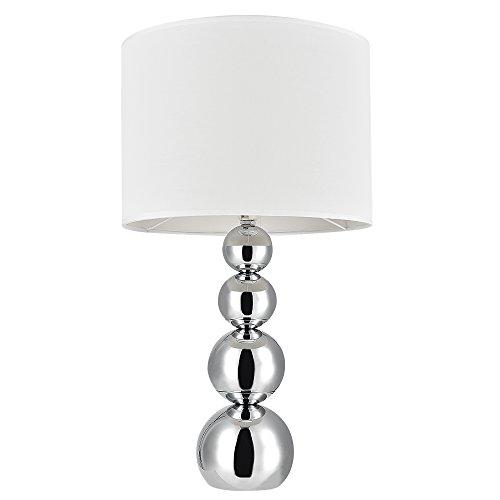 Lux.pro] Lámpara de mesa moderna (E14) - Cromo, blanco: Amazon.es ...