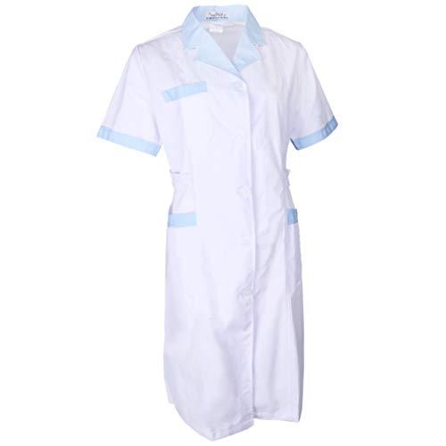 Fenteer Damen Herren Weiß Kittel Laborkittel Artzkittel Labormantel Arzt Kostüme Apotheker Mantel - Weiß + Blau, ()