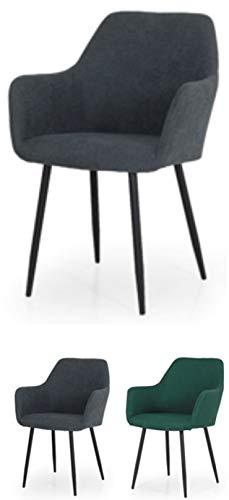 TENZO Linn 3378-211 Designer Fauteuil, Gris, Structure contreplaqué recouvert de Mousse. Tissu : 100% Polyester. Pieds en Acier laqué Noir, 81,5 x 55 x 55 cm (HxLxP)