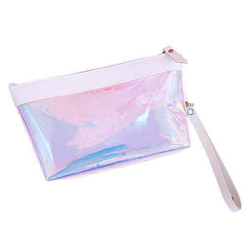 CAheadY Mode Laser Transparent Kosmetische Aufbewahrungstasche Tragbare Reise Make-Up Werkzeugtasche Transparent Fall White