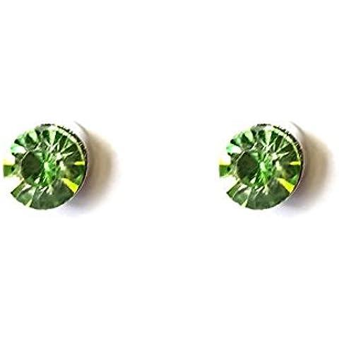 Unisex, 6 mm, colore: verde, magnetiche, Clip, cristallo Magnet-Orecchini finti orecchini da donna