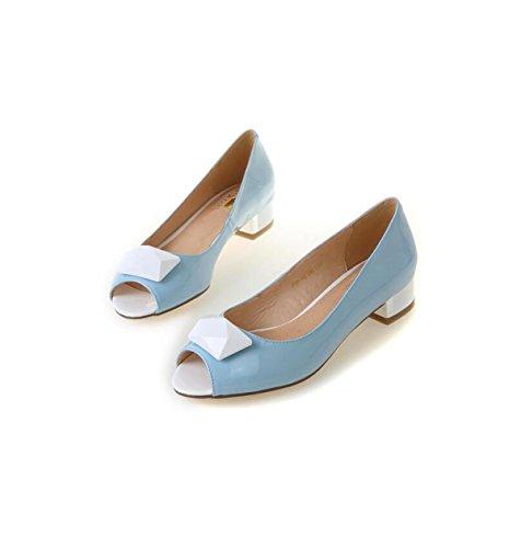 Donne Tacchi Bocca Con Bassi Cuoio Lavoro Di Blu Alta Estivo Dimensioni Sandali Grrong 8rAq8