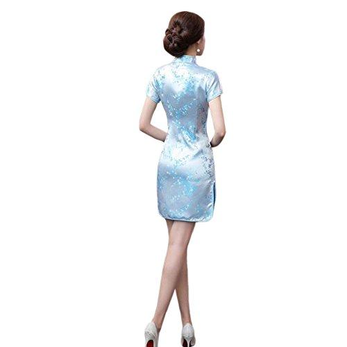 Haodasi Chinesisch Traditionell Frauen Retro Blumen gedruckt Kurzarm Cheongsam Brokat Qipao Abendkleid 09#