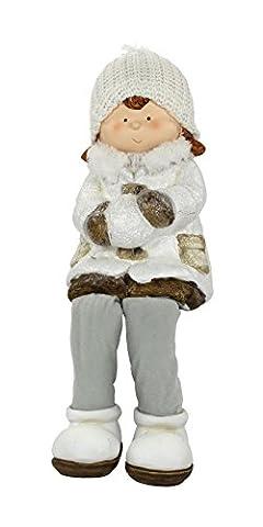 Deko Figur Winter-Kind Kantenhocker XL Mädchen weiß/gold