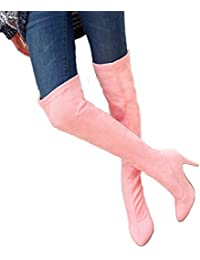 Stivali da Donna in Pelle Scamosciata con Elastico Stivali con Tacco Alto  al Ginocchio f5e42c7e274