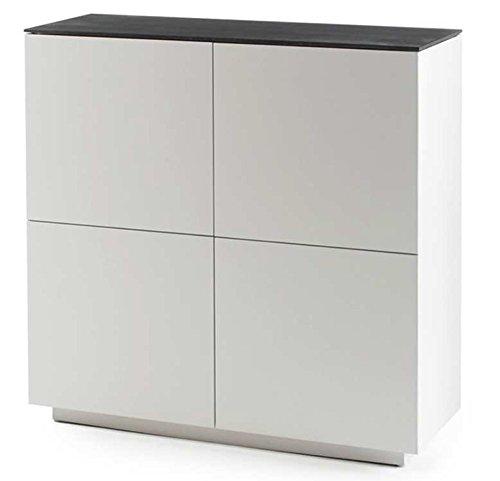Highboard in matt weiß mit Deckplatte aus Glas in Steinoptik grau, 4 Türen und 6 Einlegeböden, Maße: B/H/T ca. 105/109/40 cm