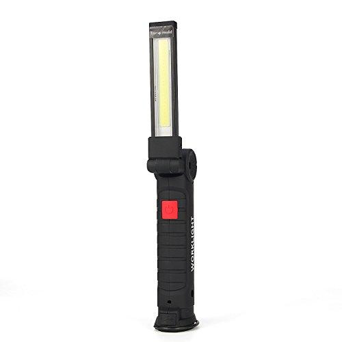 UltraFire LED Arbeitsleuchte COB Werkstattlampe USB Wiederaufladbar 5 Modi Rotes/weißes Licht Inspektionsleuchten,Eingebaute Batterie,Magnetische Basen,Faltbar Arbeitslampe Für Auto, Notfälle (Groß)