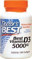 Doctor's Best Vitamin D3 5000IU, 180 Softgels by Doctor's Best