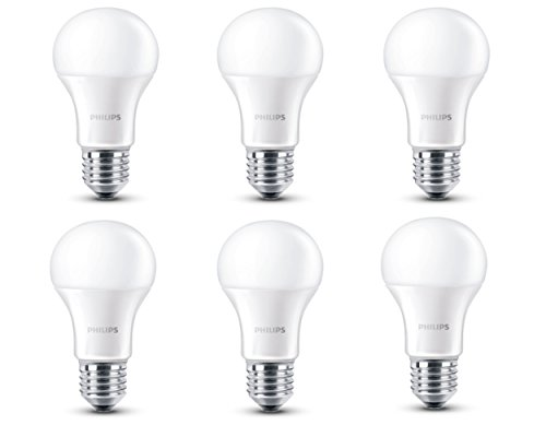 Philips - Pack de 6 bombillas LED, luz blanca cálida, 6 W, equivalente a 40 W, casquillo E27, no regulable