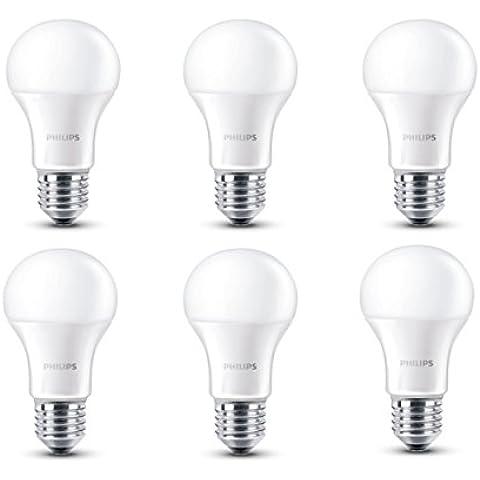 Philips 8718696509906 - Pack de 6 bombillas LED, luz blanca cálida, consumo 9,5 W, equivalente a 60 W, casquillo E27,