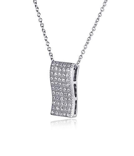 Elegance Parisienne Modische Glitzer-Halskette Welle | Echtes Sterling-Silber 925 | Mit Anhänger Für Frauen Damen Kinder Mädchen Stylisch Geschenk (Tiffany Halskette T)