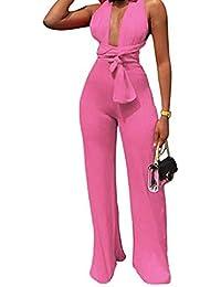 795206d72e5cd Mono Mujer Fiesta Sexy Verano Correa Cuello En V Cintura SóLida Cordones  Pantalones Largos con Cordones