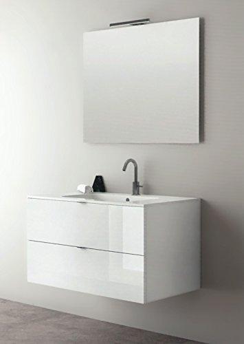 Yellowshop - mobile mobiletto sospeso da bagno in legno cm 90 completo di lavabo in mineralmarmo e specchiera led arredo moderno modello andrè varie colorazioni (bianco laccato lucido)