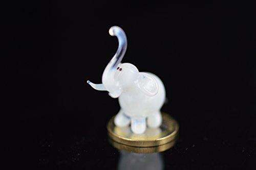 Elefante Blanco–De Buda En Miniatura vidrio figura–Elephant Mini cristal blanco