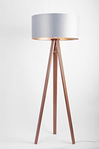 Trépied design de haute qualité avec abat-jour en tissu en chêne chinois et trépied en bois de noyer Hauteur 145 cm Moderne Grau Gold