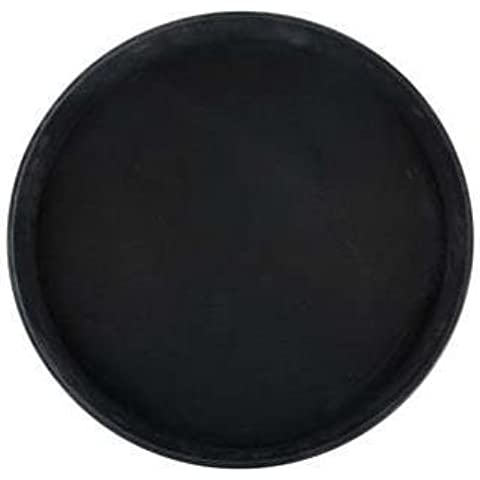 Winco Easy Hold Round Tray, 16-Inch, Black by Winco USA