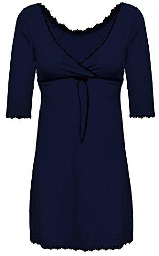 DKaren-Nachtwäsche Damen Negligee aus Viskose Magnolia (XS - 2XL) (2XL, Marine) (Knickers French Unterwäsche)