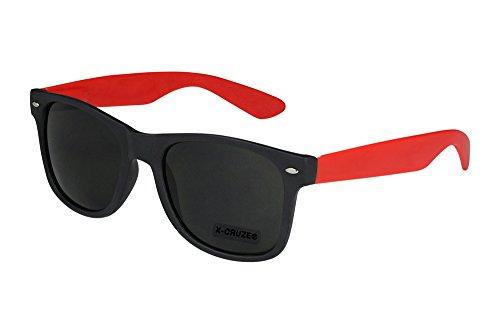 X-CRUZE® 8-064 X 18 Nerd Sonnenbrille Style Stil Retro Vintage Retro Unisex Herren Damen Männer Frauen Brille Nerdbrille - Schwarz Matt/Rot Matt