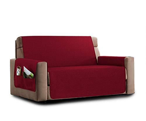 La biancheria di casa elizabeth copri poltrona divano antiscivolo (3 posti, bordeaux) con 2 tasche portaoggetti
