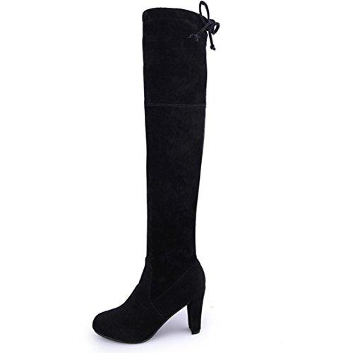 Zapatos de mujer Zapatos de mujer tacones altos Botines Botas de mujer sobre la rodilla Mujer Moda Otoño invierno Tramo Faux Delgado Botas altas Negro Rojo marrón Gris LMMVP (43, Negro)