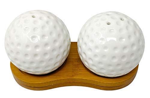 Weiß Golfbälle Keramik Salz und Pfeffer Streuer Set mit Bambus Halterung