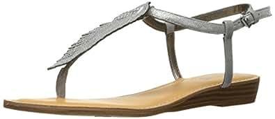 Carlos by Carlos Santana Women's Tenor Flat Sandal, Pewter, 6 Medium US