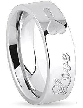 Paula & Fritz® Ring aus Edelstahl Chirurgenstahl 316L silber 6 oder 8mm breit Liebe Schloß Schlüssel Gravur verfügbare...