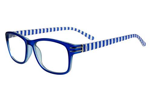 Lesebrillen Damen Herren zweifarbig marineblau weiß mit Streifen außen oben chrom silber eckige Form Kunststoff Lesehilfen Sehhilfen 1.0 1.5 2.0 2.5 3.0 3.5, Dioptrien:Dioptrien 2.5