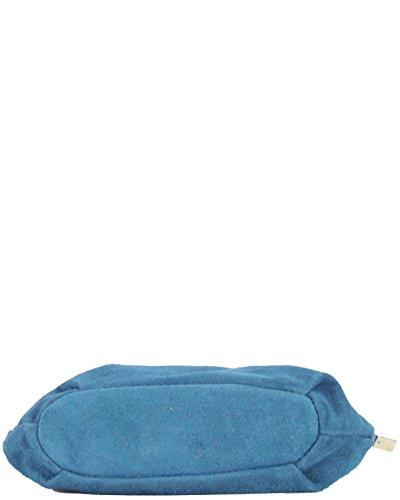 histoireDaccessoires - Sac Bandoulière Cuir Velours Femme - SA152821L-Timeo Bleu Denim